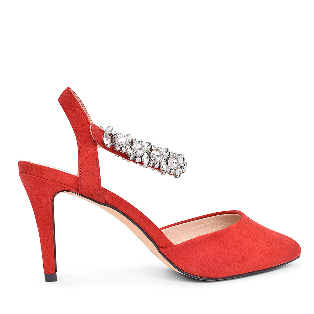 DIAMONTE STRAP SHOE FOR LADIES in RED