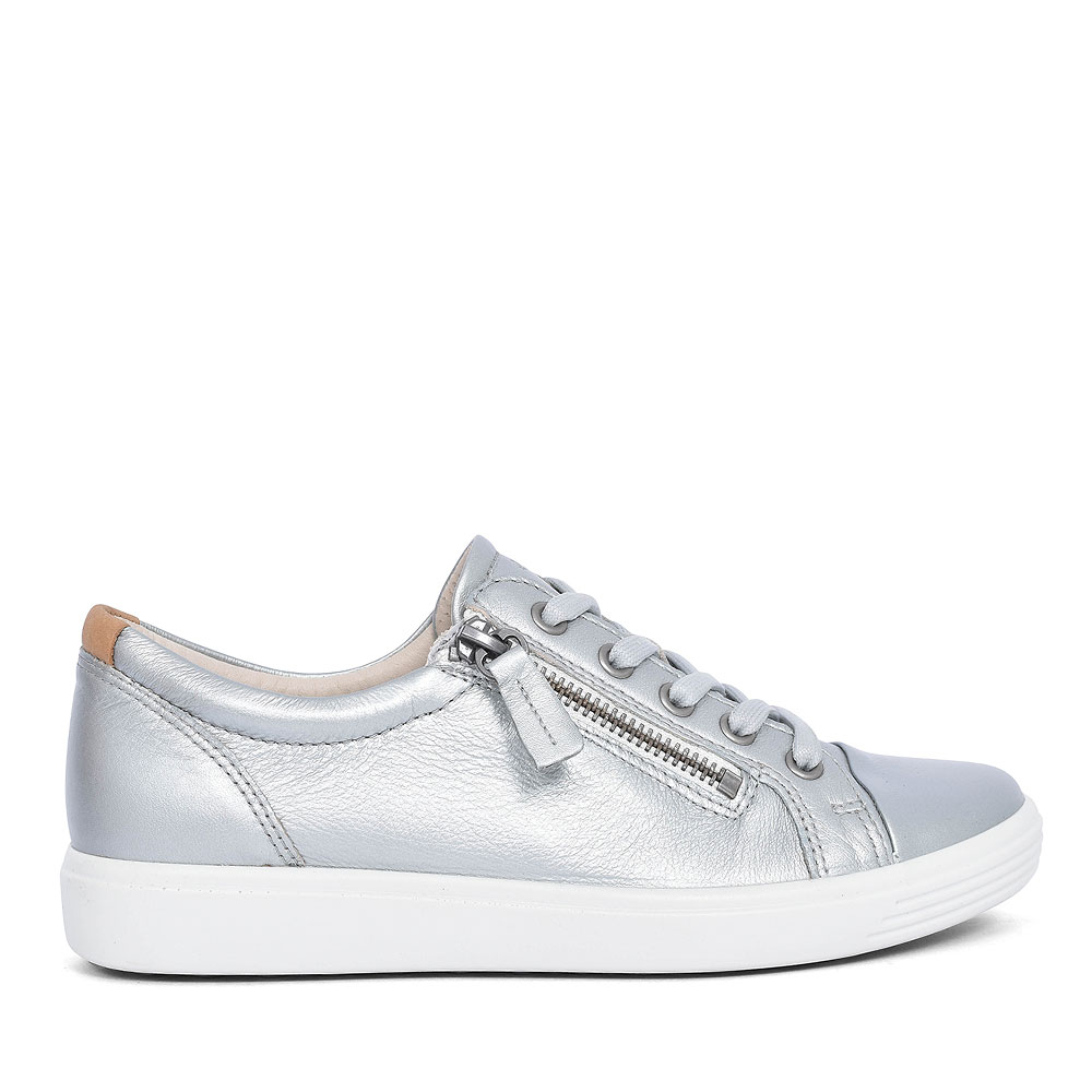ECCO SOFT 7 LACED TRAINER FOR LADIES in SILVER