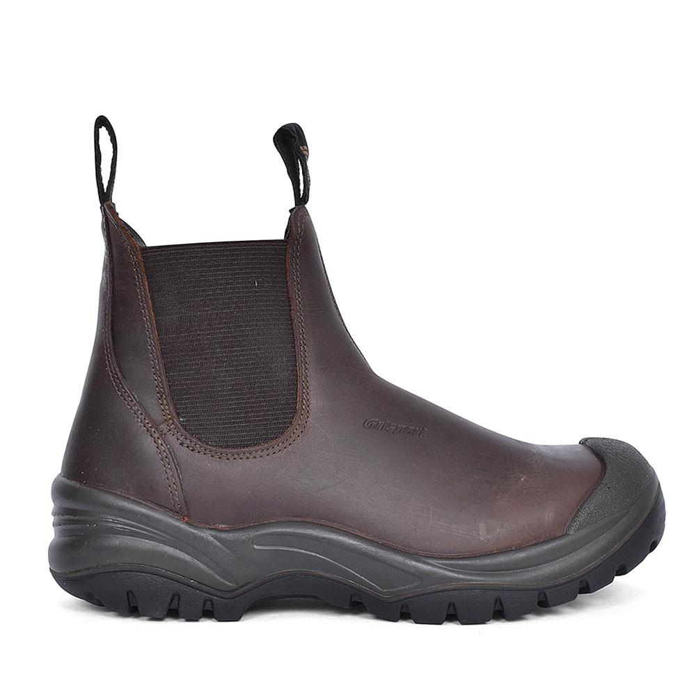 CHUKKA SLIP ON SAFETY BOOTS FOR MEN in BROWN