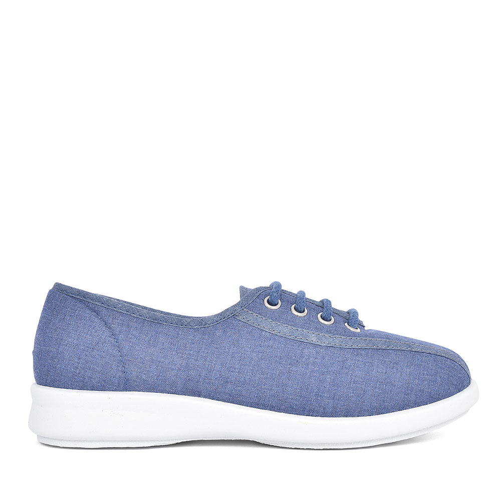SENNA 2V EXTRA WIDE LACED CANVAS SHOE FOR LADIES in DENIM