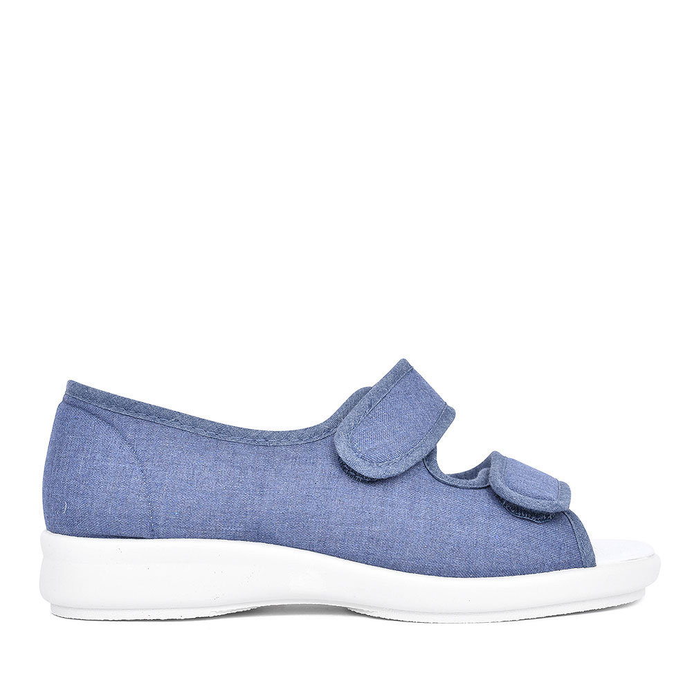 CORA EXTRA WIDE 2V PEEP TOE SHOE FOR LADIES in DENIM