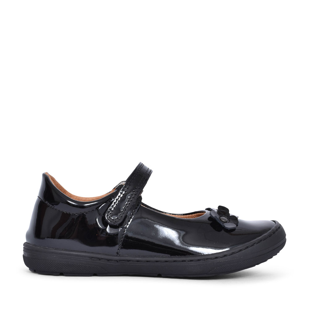 G3140074 PATENT FLORAL SHOE FOR GIRLS in BLK PATENT