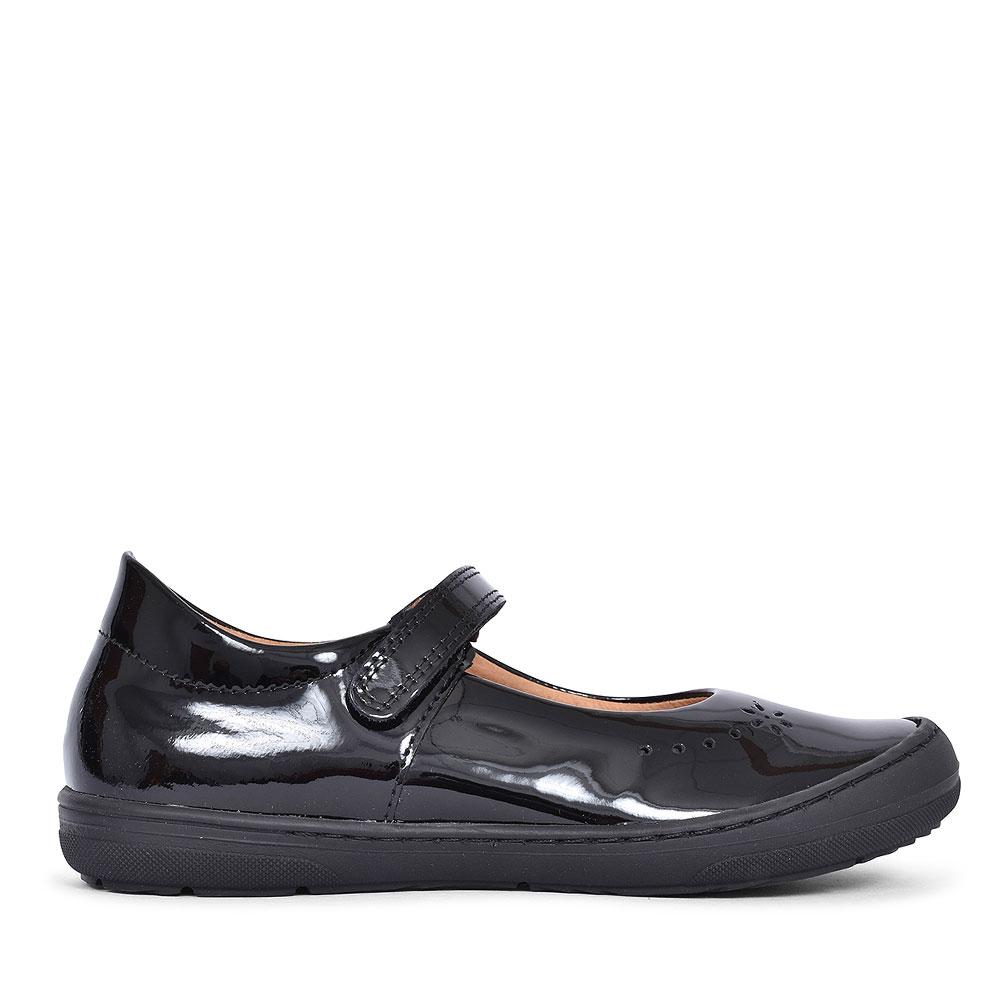 G3140053-1 PATENT VELCRO SHOE FOR GIRLS in BLK PATENT