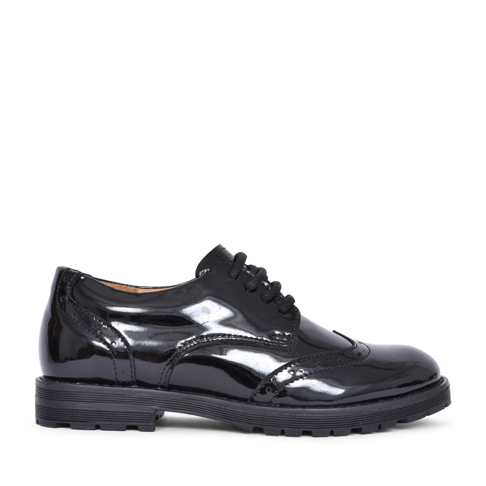 G4130069-1 PATENT LACED BROGUE FOR GIRLS in BLK PATENT