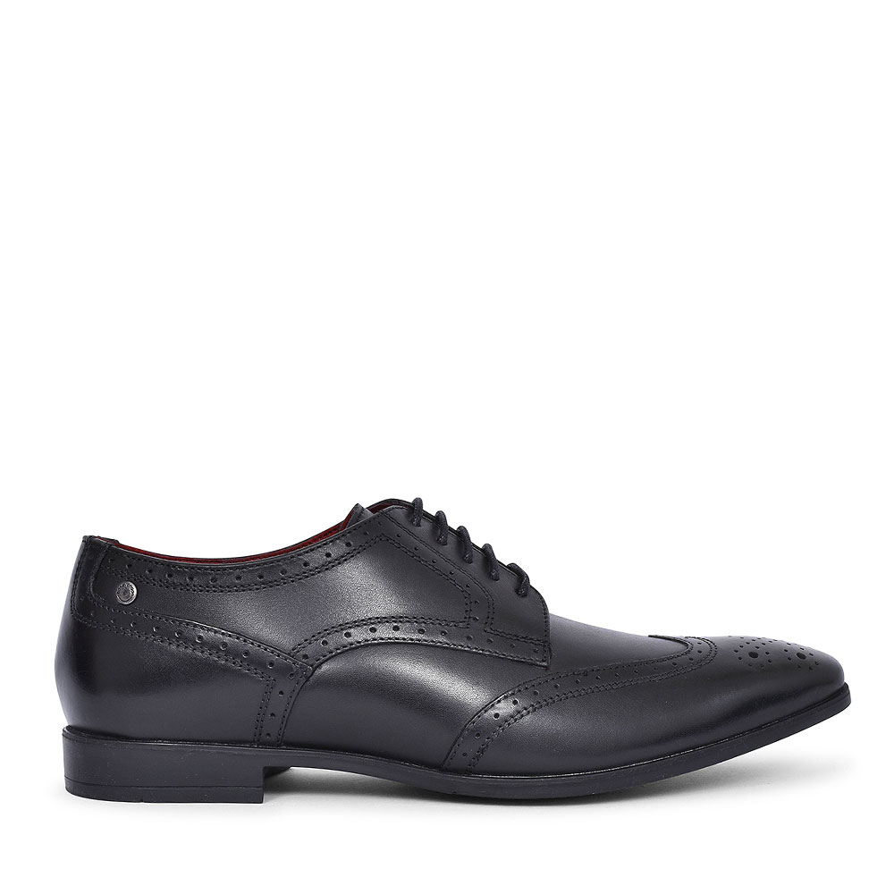 CROWN LACED BROGUE SHOE FOR MEN in BLACK