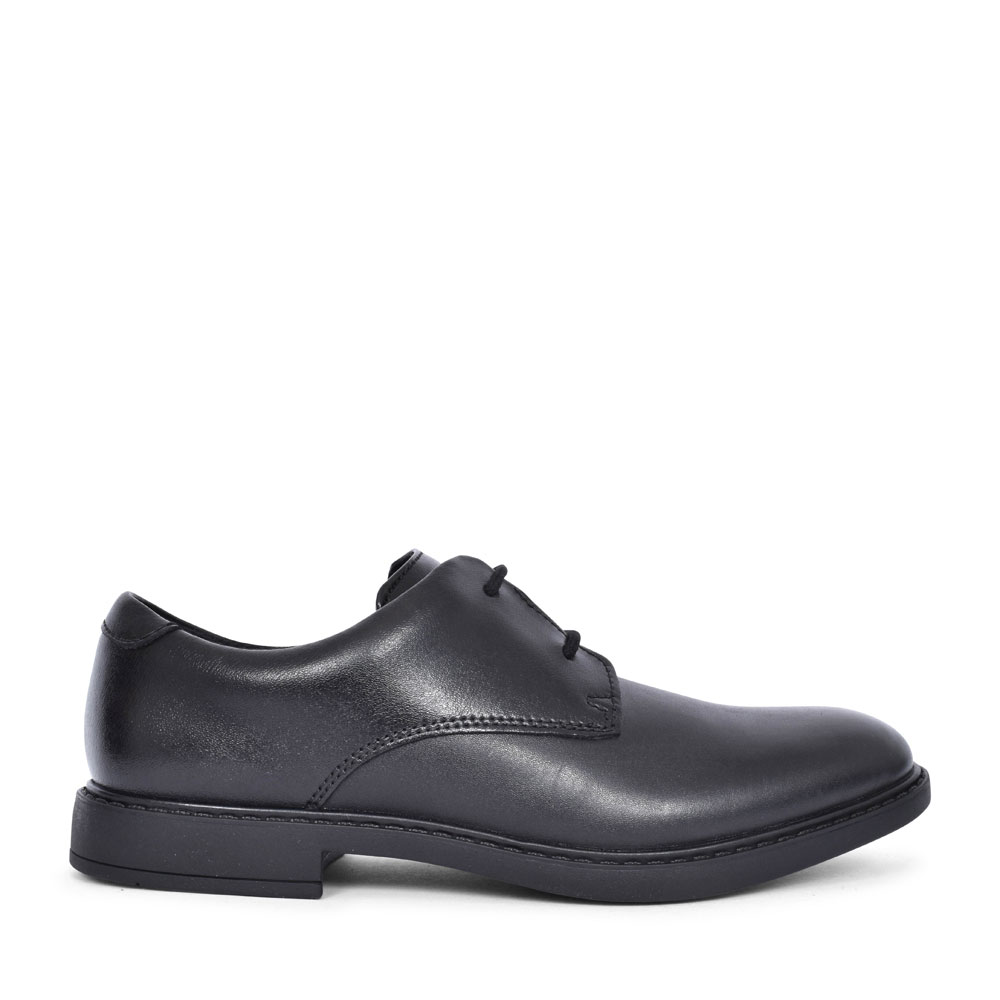 SCALA LOOP BLACK LEATHER LACED SHOE FOR BOYS in KIDS F FIT