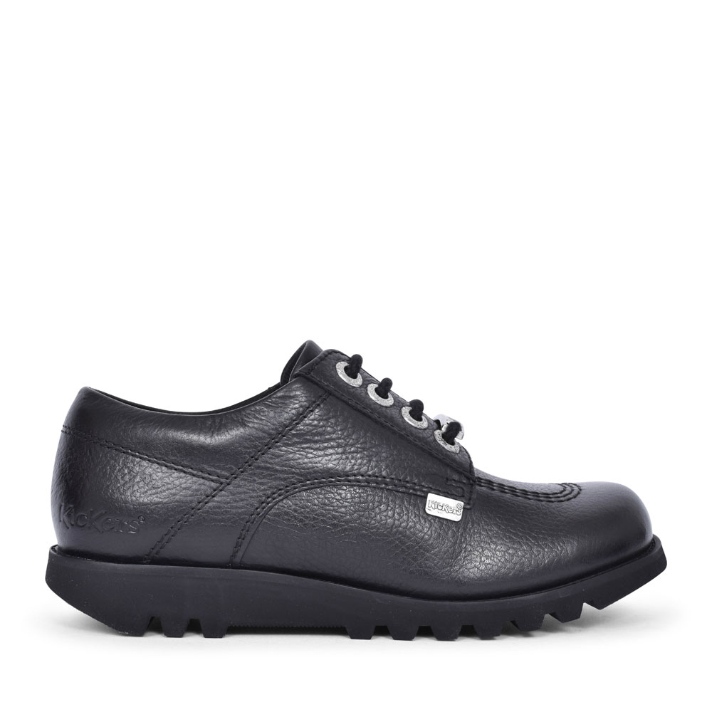KICK LO LUXE YF BLACK LEATHER LACED SHOE FOR GIRLS in BLK LEATHER