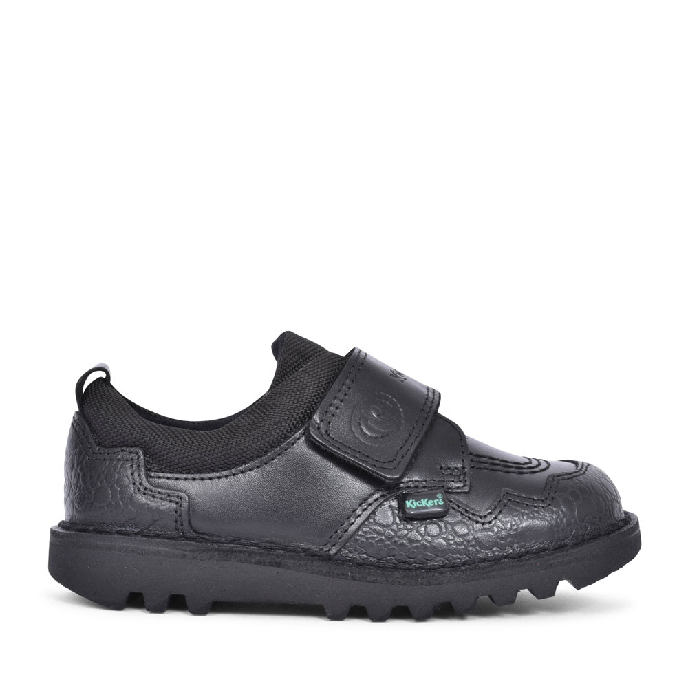 KICK SAWRUS IM BLACK LEATHER VELCRO SHOE FOR GIRLS in BLK LEATHER