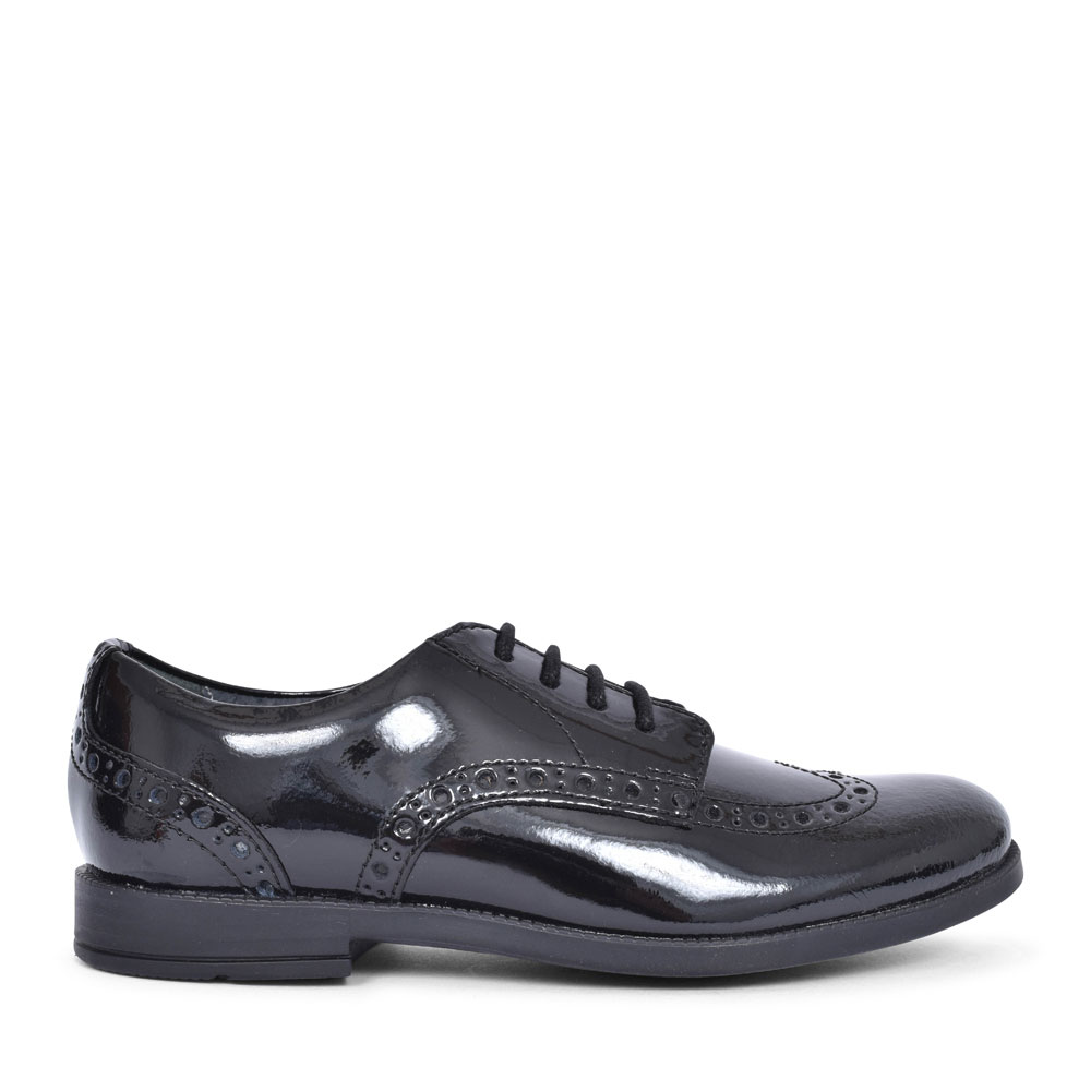 BROGUE PRI BLACK PATENT LACED SHOE FOR GIRLS in KIDS F FIT