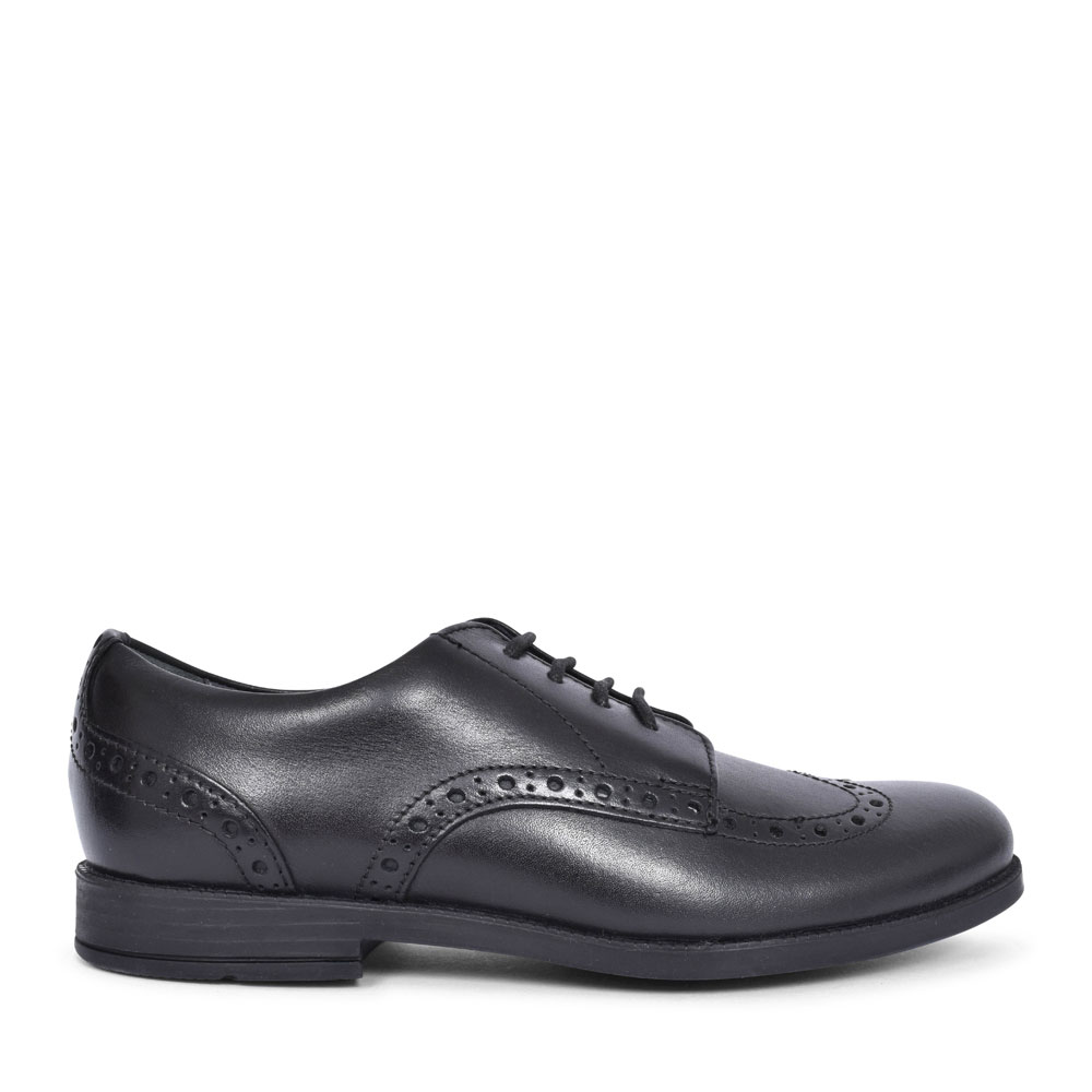 BROGUE PRI BLACK LEATHER LACED SHOE FOR GIRLS in KIDS F FIT