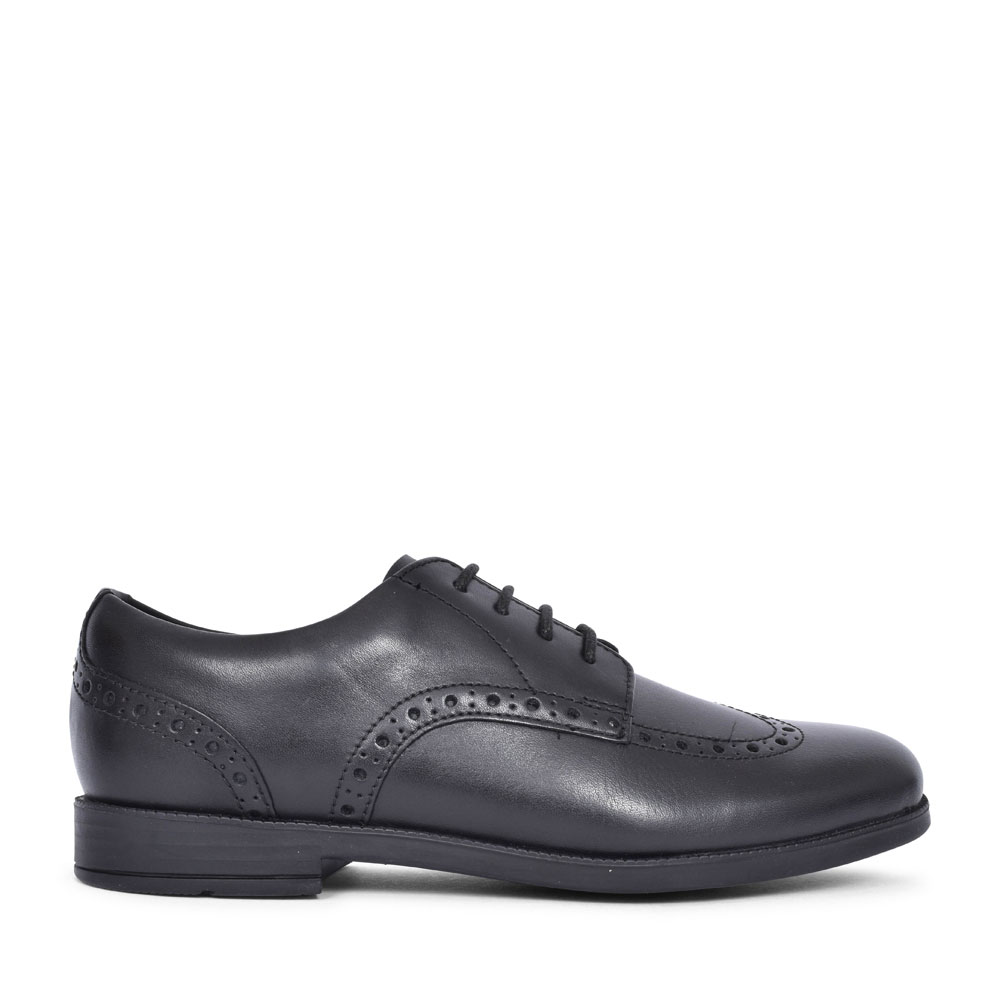 BROGUE PRI BLACK LEATHER LACED SHOE FOR GIRLS in KIDS G FIT