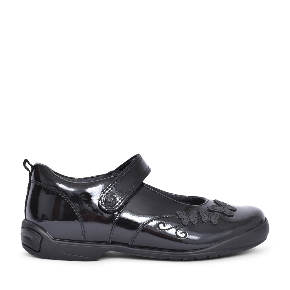 PUMP BLACK PATENT VELCRO SHOE FOR GIRLS in KIDS F FIT