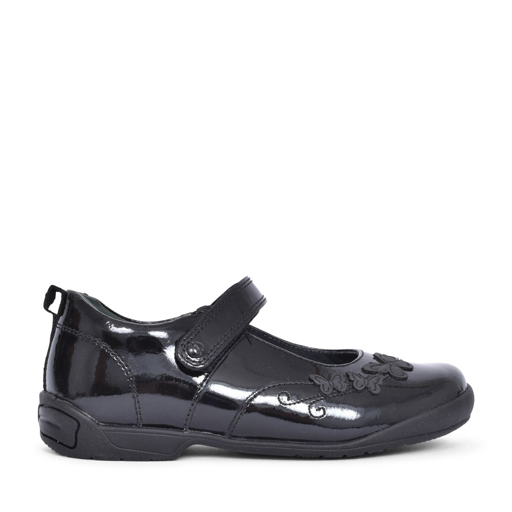 PUMP BLACK PATENT VELCRO SHOE FOR GIRLS in KIDS G FIT