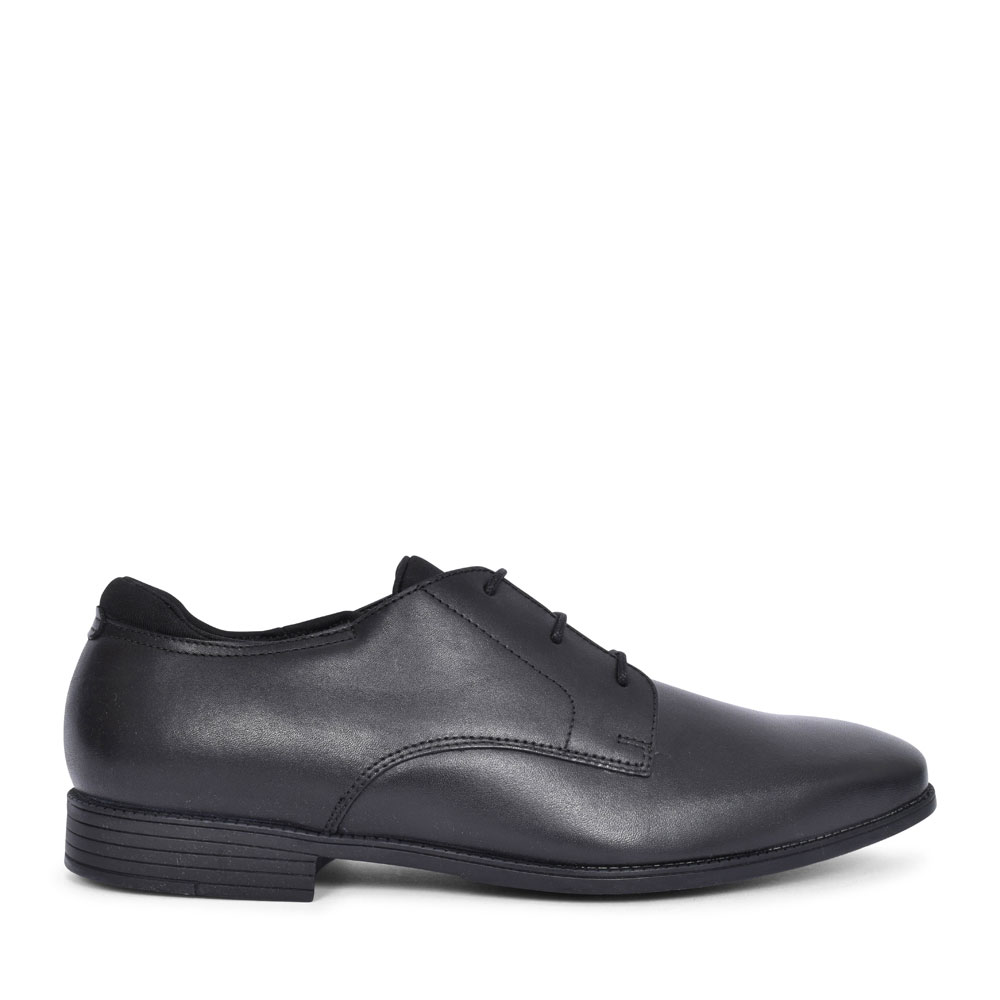 ACADEMY BLACK LEATHER LACED SHOE FOR BOYS in KIDS F FIT