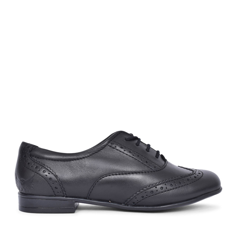 MATILDA LACED M FIT BROGUE SHOE FOR GIRLS in BLK LEATHER