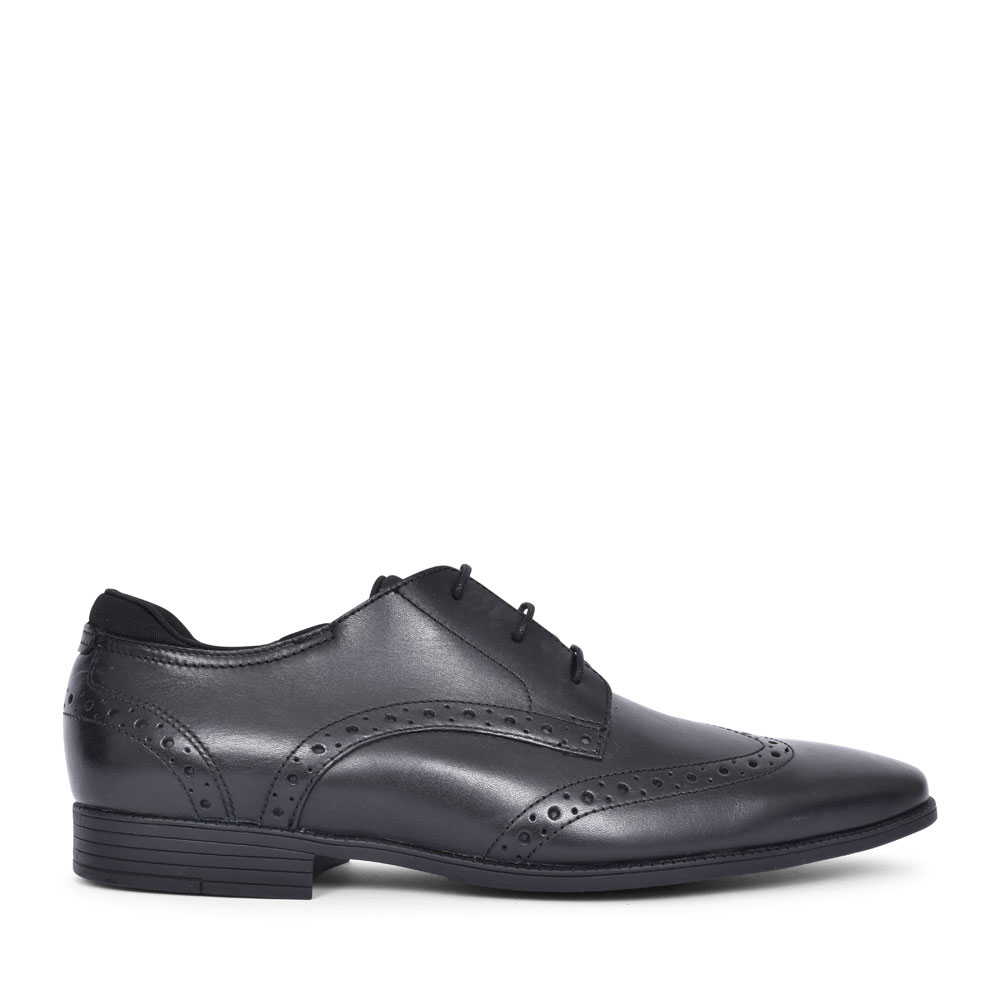 TAILOR BLACK LEATHER LACED BROGUE SHOE FOR BOYS in KIDS F FIT
