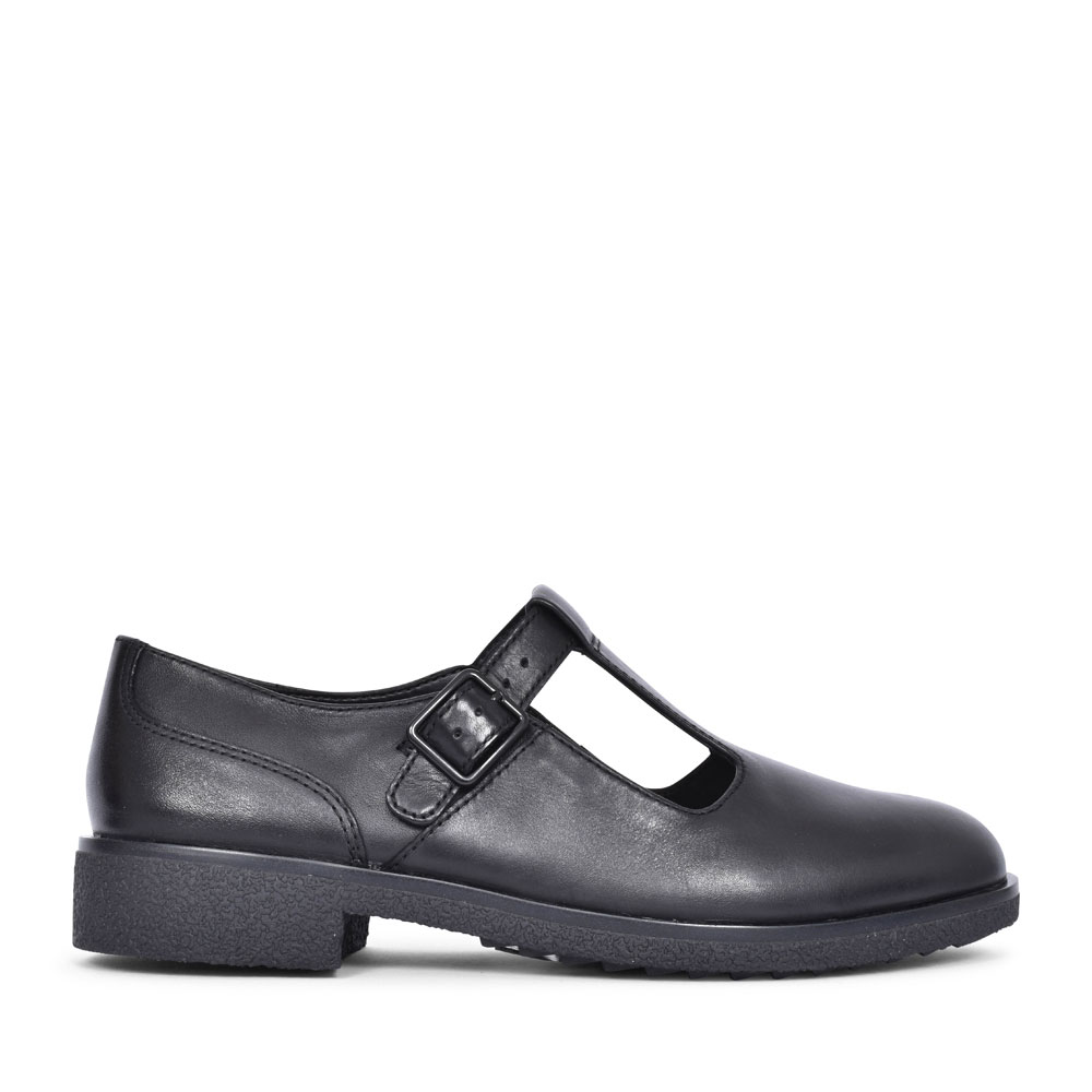 GRIFFIN TOWN LEATHER D FIT T-BAR SHOE FOR LADIES in BLK LEATHER