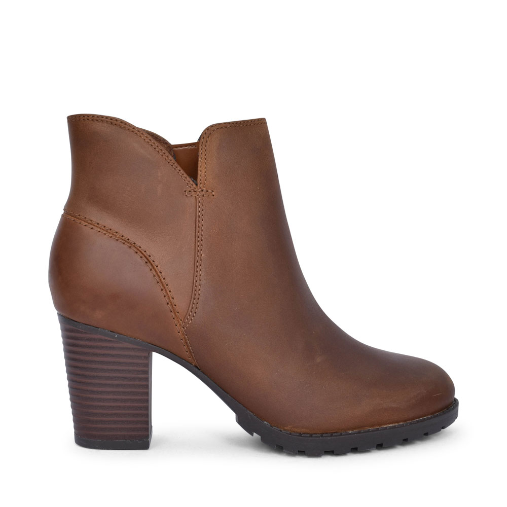 VERONA TRISH LEATHER D FIT HIGH HEEL ANKLE BOOT FOR LADIES in TAN