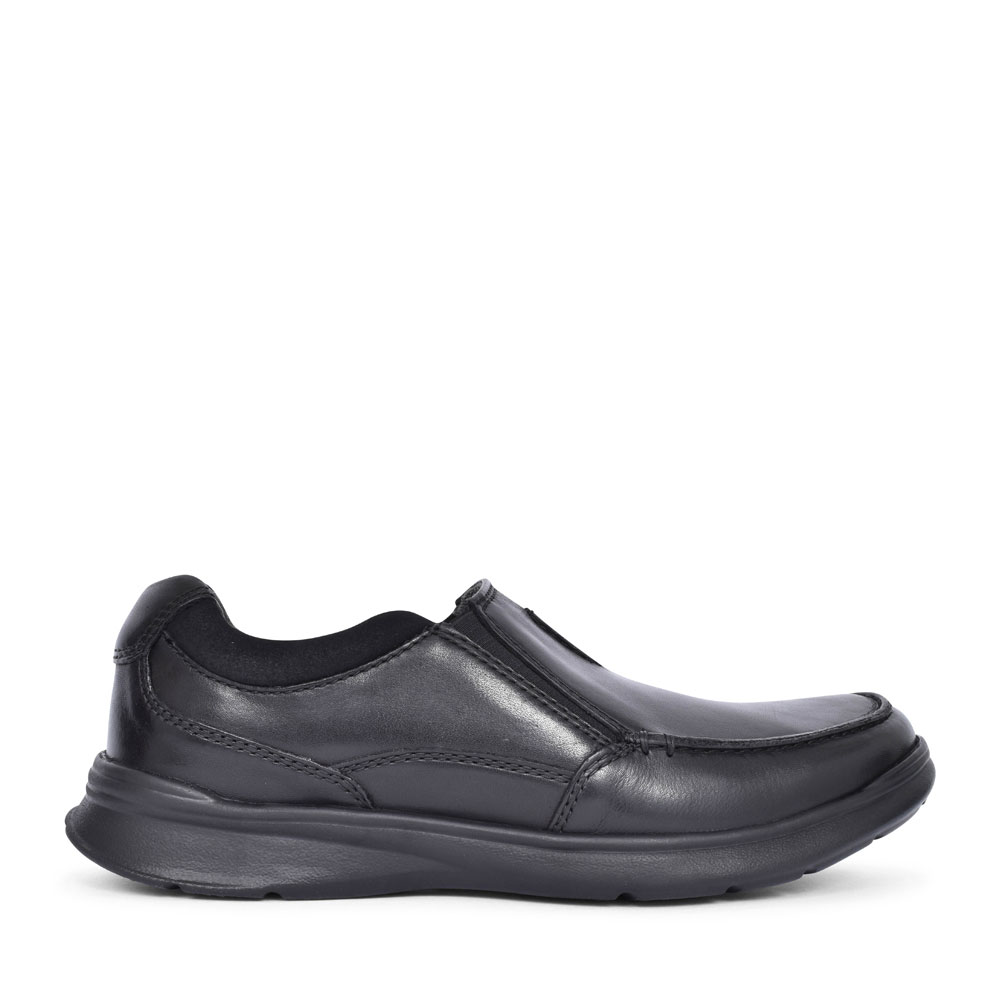 COTRELL FREE LEATHER H FIT SLIP ON SHOE FOR MEN in BLK LEATHER
