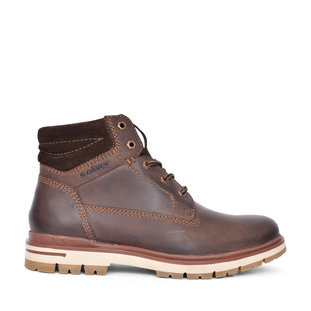 5-15207 CASUAL LACED ANKLE BOOT FOR MEN in BROWN