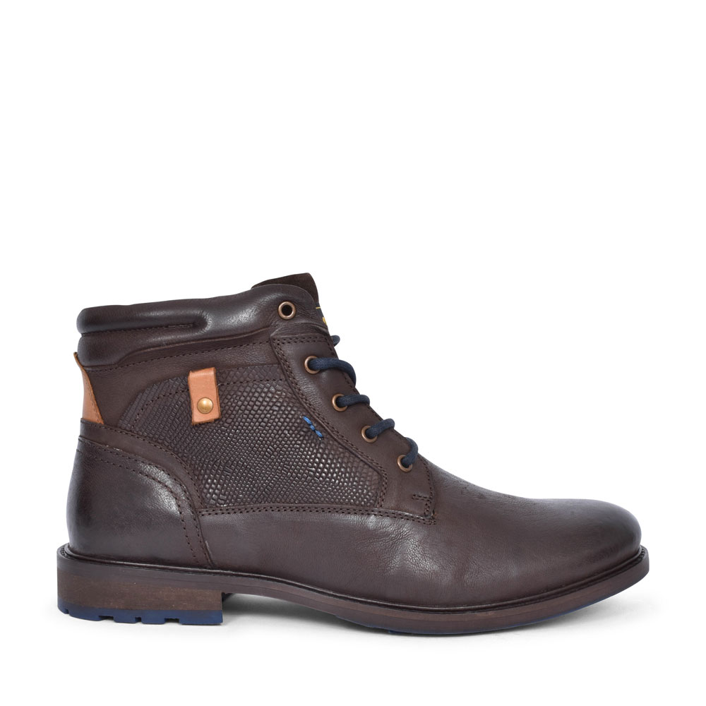 5-15218 CASUAL LACED ANKLE BOOT FOR MEN in DARK BROWN