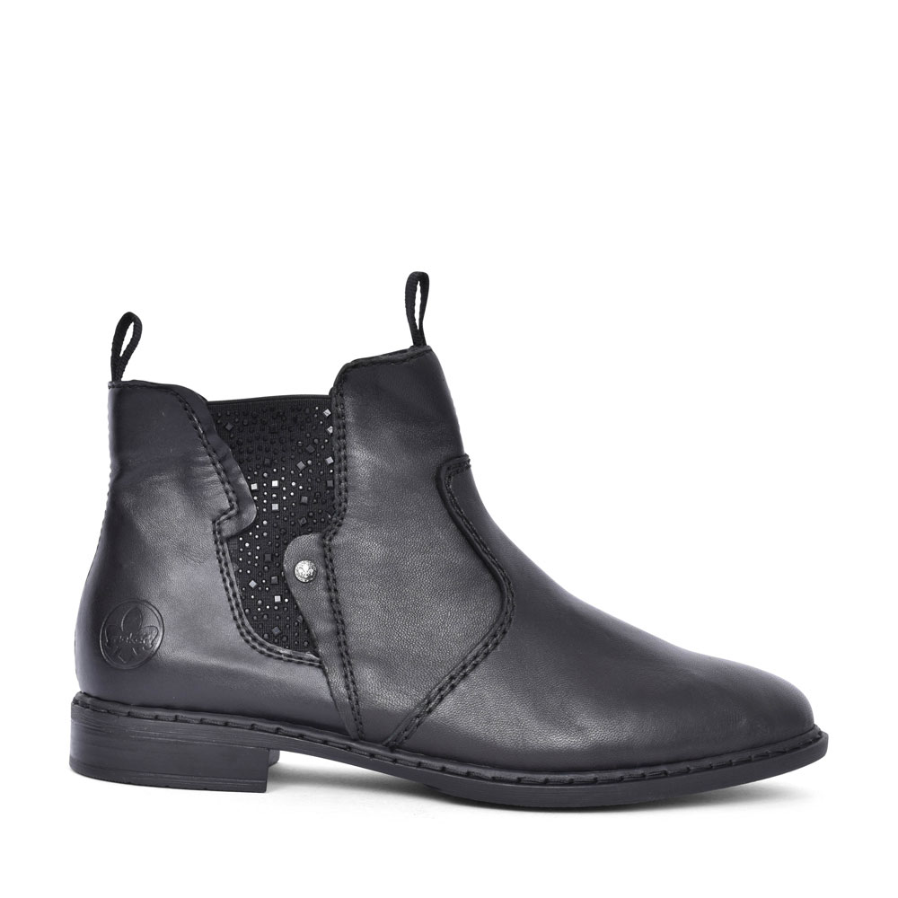 72460 FUR LINED SLIP ON ANKLE BOOT FOR LADIES in BLACK