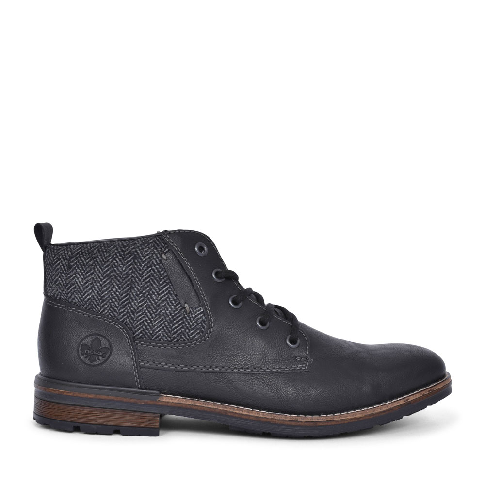 F1304 CASUAL LACED ANKLE BOOT FOR MEN in BLACK