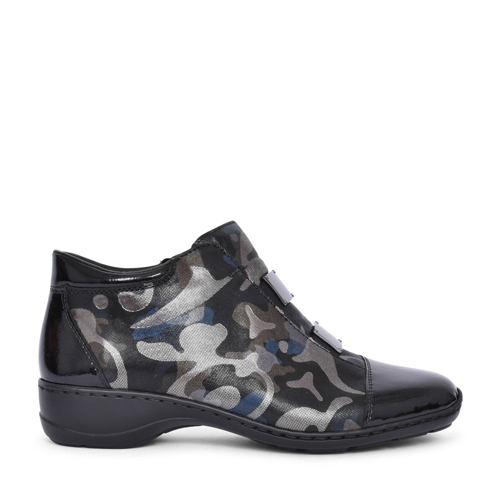 58398 CASUAL PATENT TOE ANKLE BOOT FOR LADIES in MULTI-COLOUR