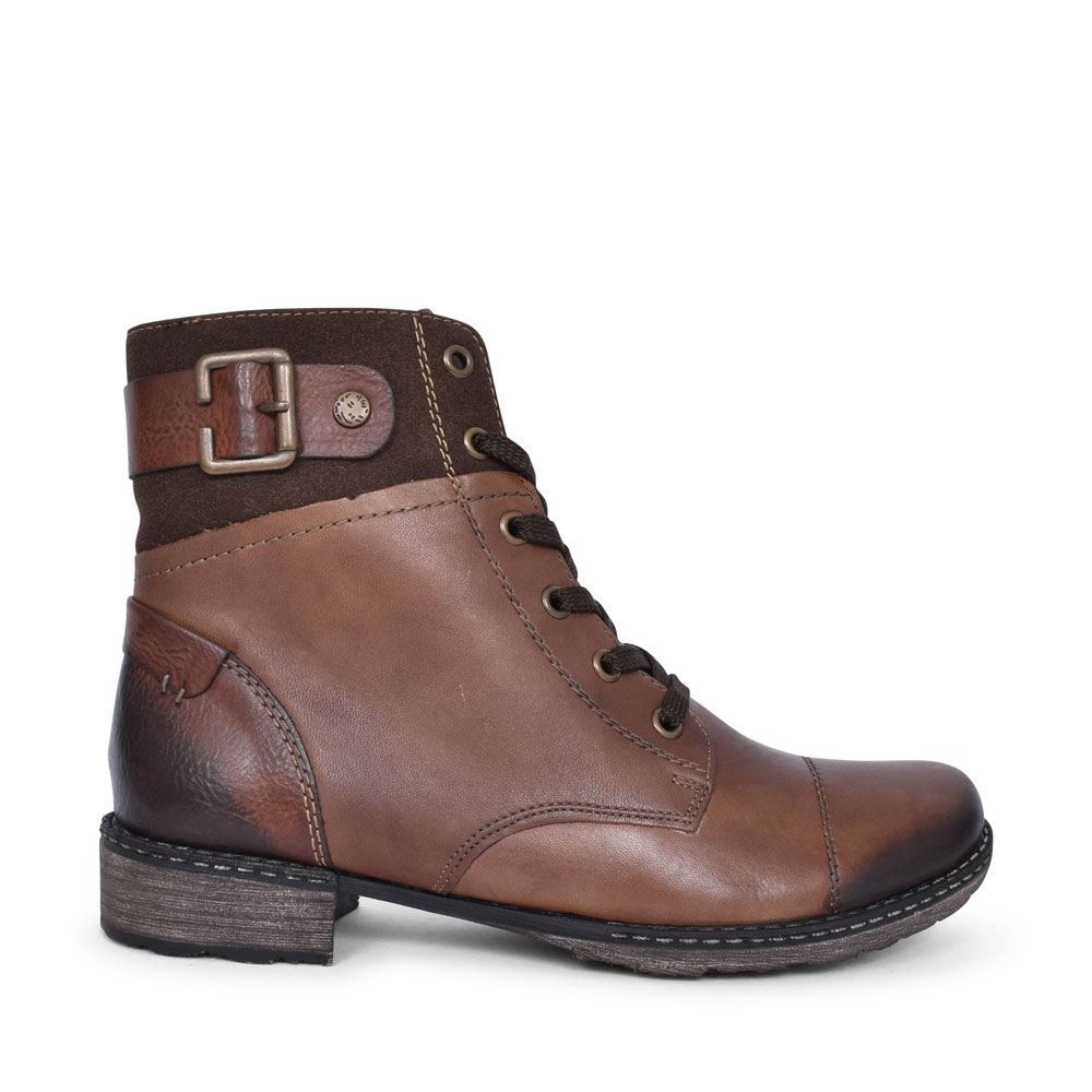 D4368 CASUAL LACED ANKLE BOOT FOR LADIES in BROWN