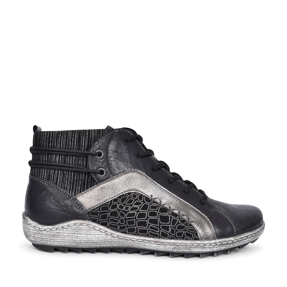 R1499 CASUAL LACED ANKLE BOOT FOR LADIES in BLACK