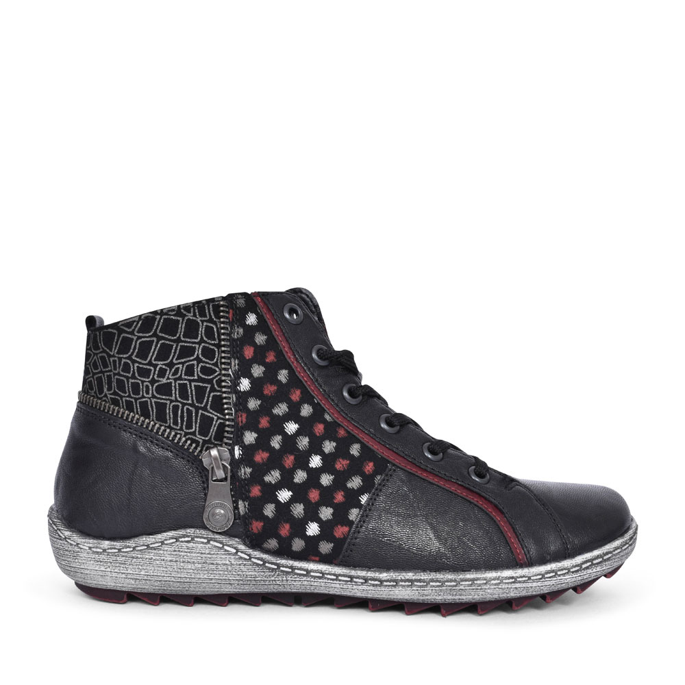 R1494 CASUAL LACED ANKLE BOOT FOR LADIES in BLACK