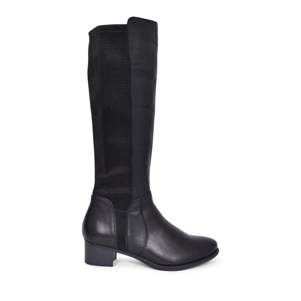 R5174 LOW HEEL LONG LEG BOOT FOR LADIES in BLACK