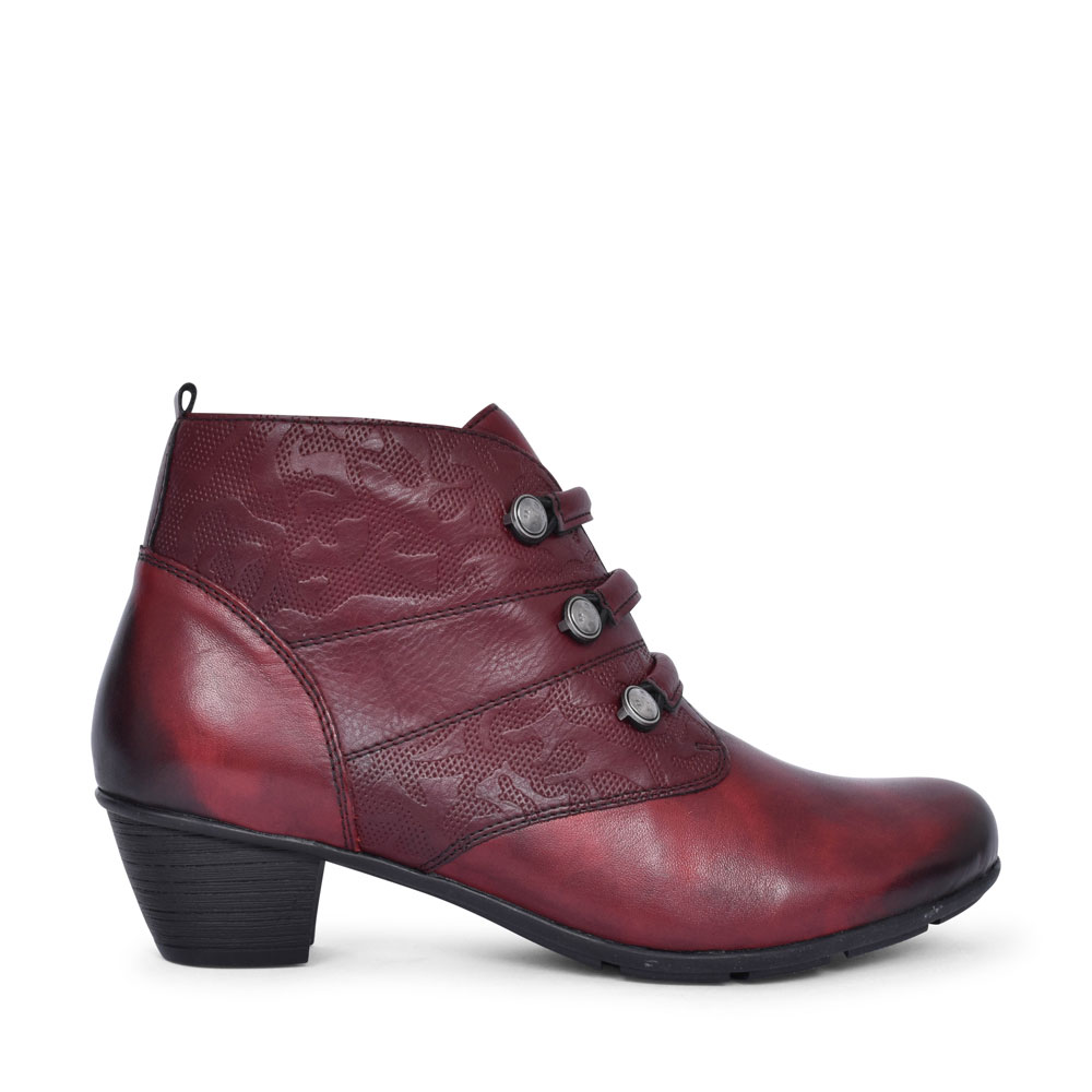R7577 LOW HEEL BUTTON DETAIL ANKLE BOOT FOR LADIES in BURGANDY