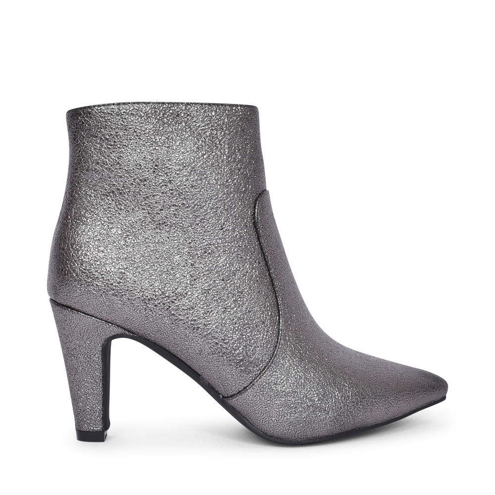 GALA GLE076 MEDIUM HEEL POINTED TOE ANKLE BOOT FOR LADIES in PEWTER