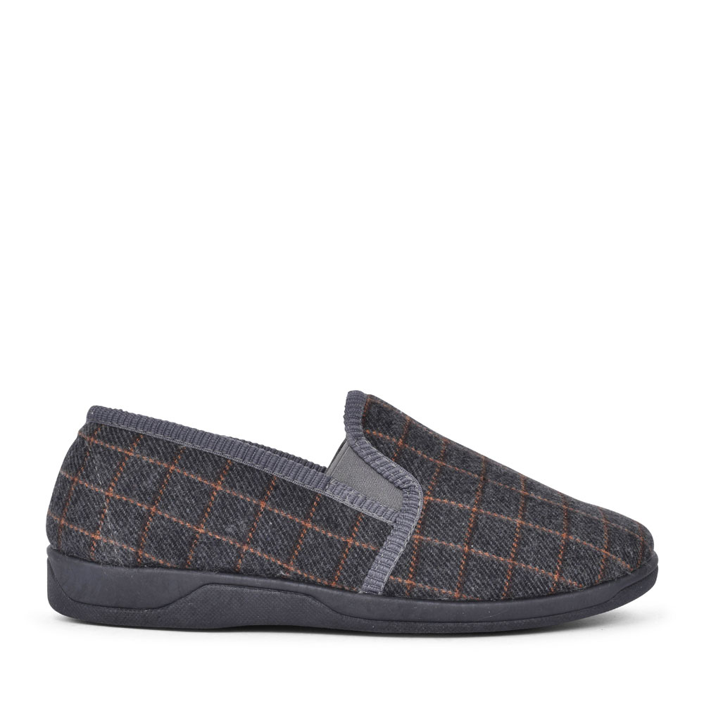 EVAN UMH021 CHECK SLIPPER FOR MEN in GREY