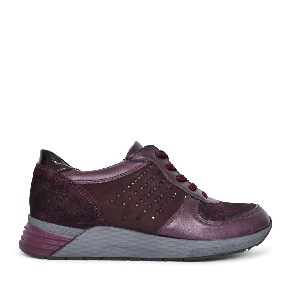 964005 HALICE LACED BEADED TRAINER FOR LADIES in BURGANDY