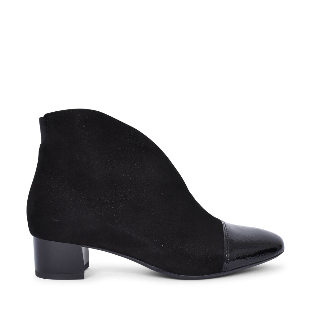 12-16605 VICENZA LOW HEEL PATENT TOE ANKLE BOOT FOR LADIES in BLACK