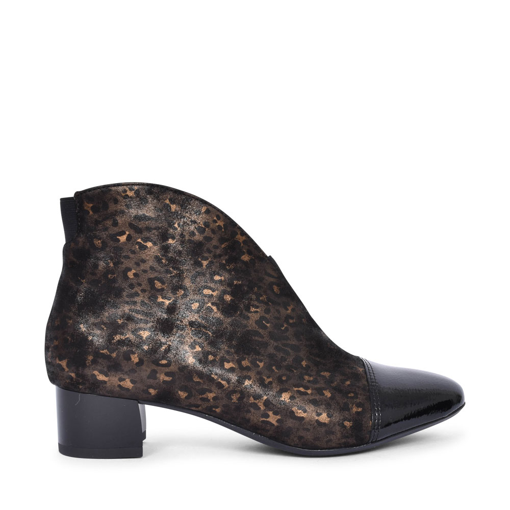 12-16605 VICENZA LOW HEEL PATENT TOE ANKLE BOOT FOR LADIES in LEOPARD