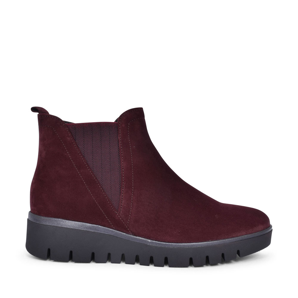 NINA 32.851 CASUAL WEDGE ANKLE BOOT FOR LADIES in BURGANDY