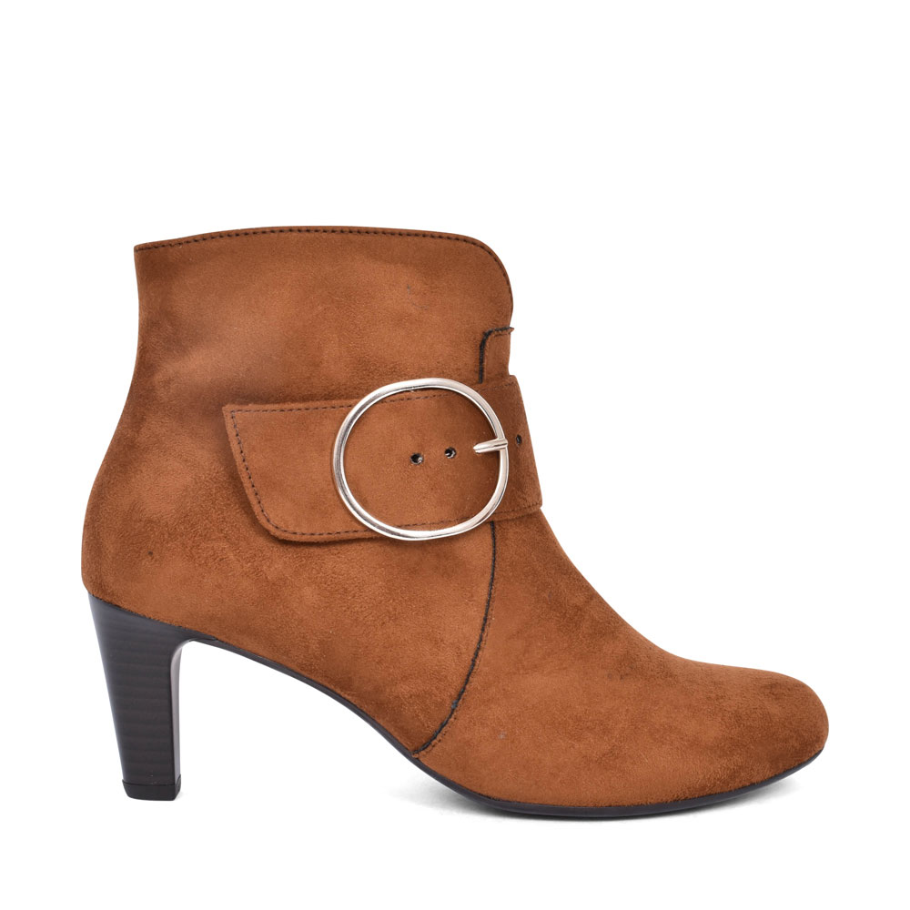 35.853 HIGH HEEL SIDE BUCKLE ANKLE BOOT FOR LADIES in TAN