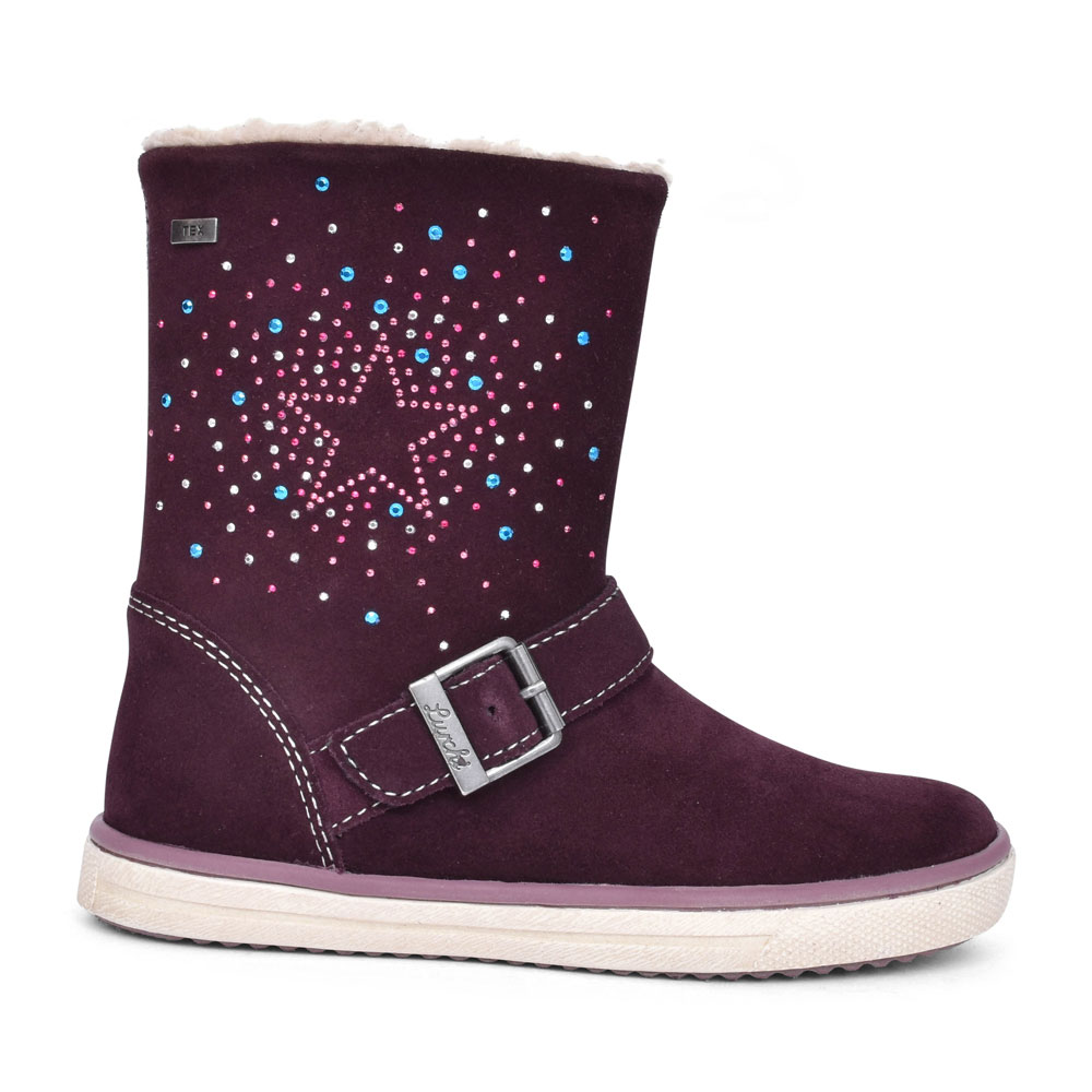 33-13672 FRONT BUCKLE STAR DIAMANTE ANKLE BOOT FOR GIRLS in BURGANDY