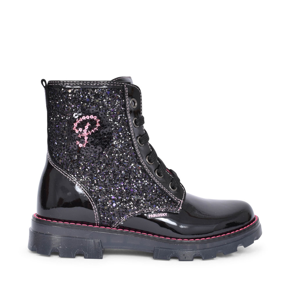 474519 PATENT LACED ANKLE BOOT FOR GIRLS in BLK PATENT