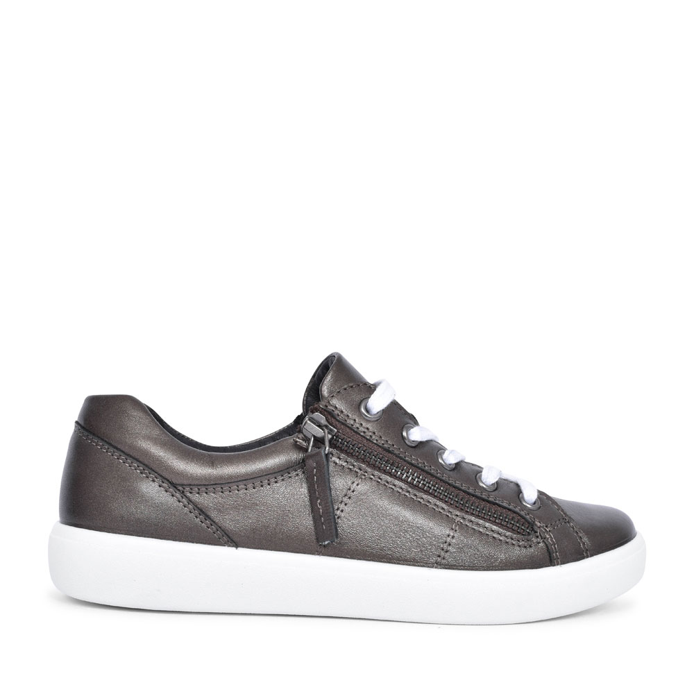 CHASE LEATHER LACED TRAINER FOR LADIES in PEWTER