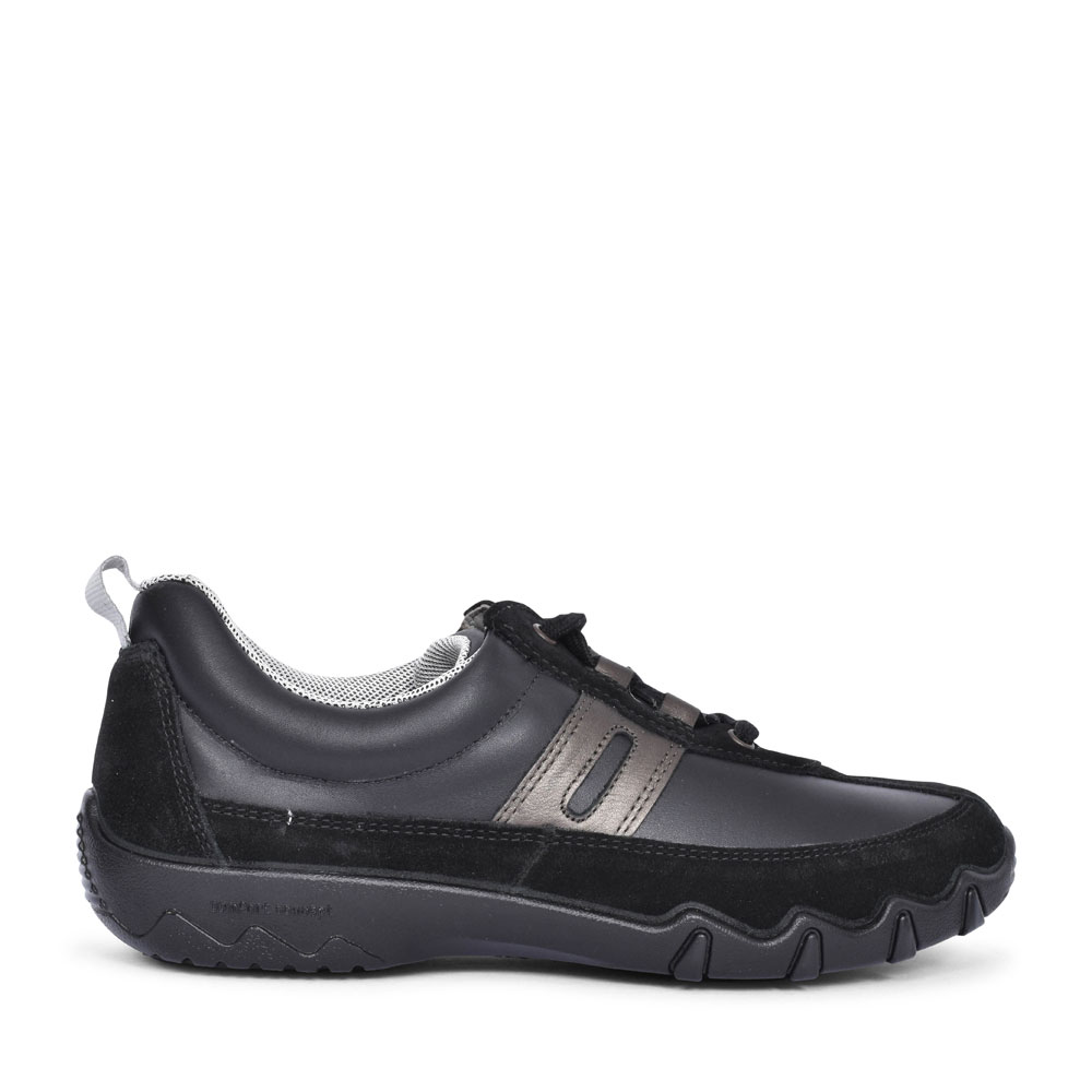 LEANNE EXTRA WIDE FIT LACED TRAINER FOR LADIES in BLACK