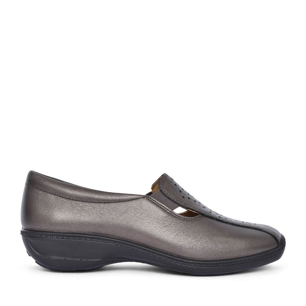 CALYPSO LEATHER CASUAL SLIP ON SHOE FOR LADIES in PEWTER