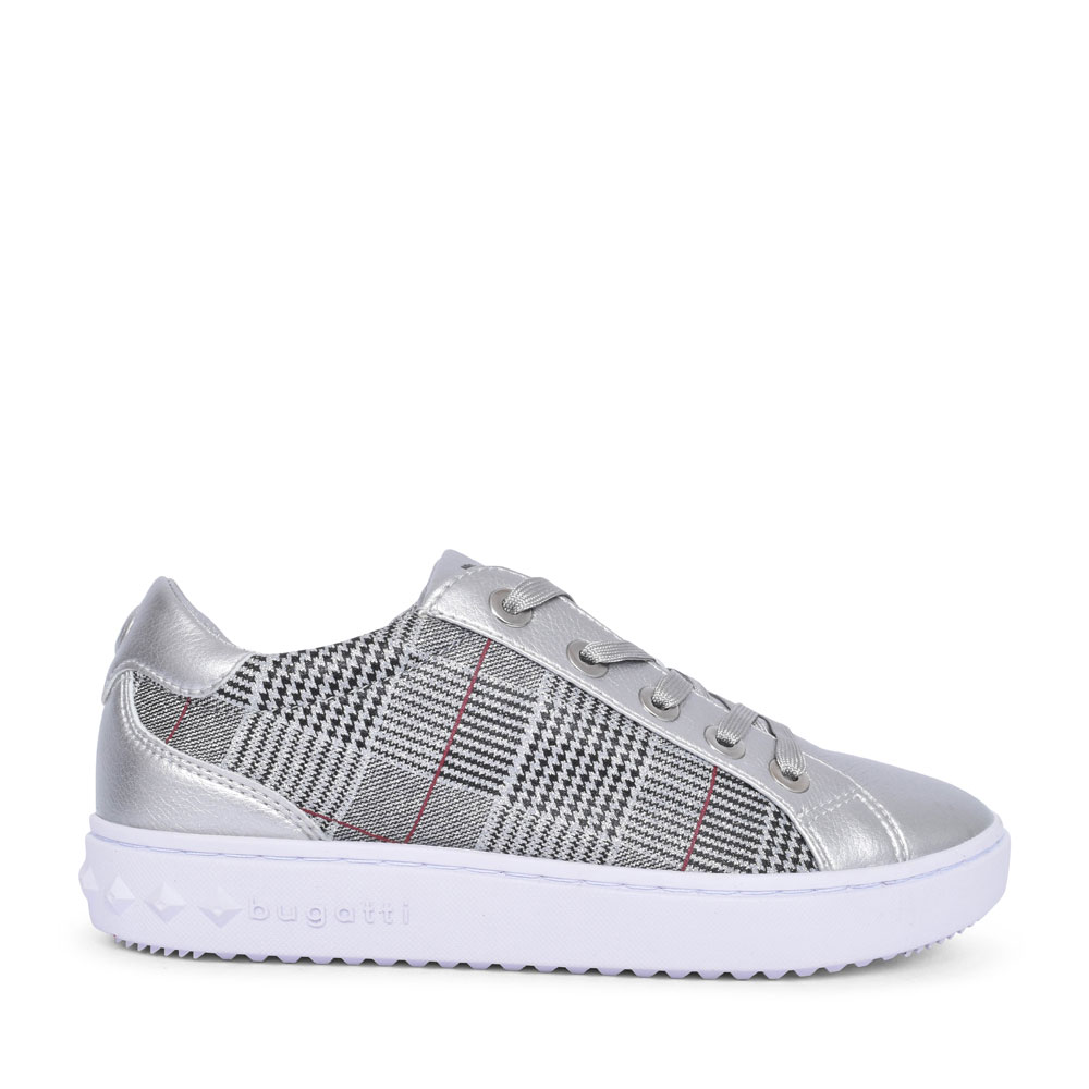 63605 TARTAN LACED TRAINER FOR LADIES in SILVER