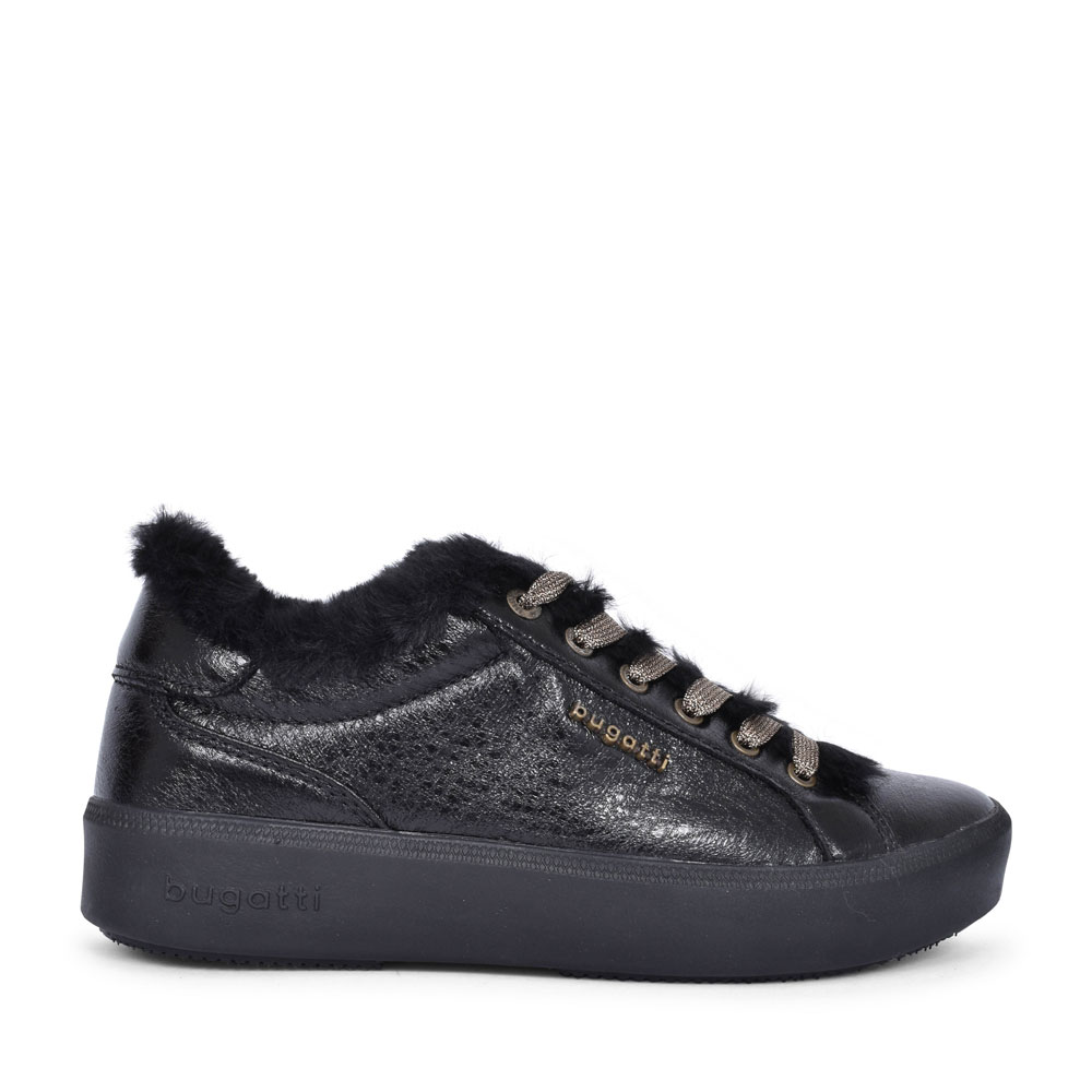 4071A FUR TRIM LACED TRAINER FOR LADIES in BLACK