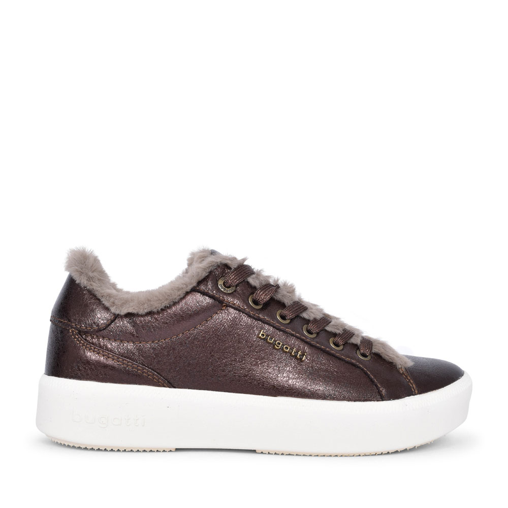 4071A FUR TRIM LACED TRAINER FOR LADIES in DARK BROWN