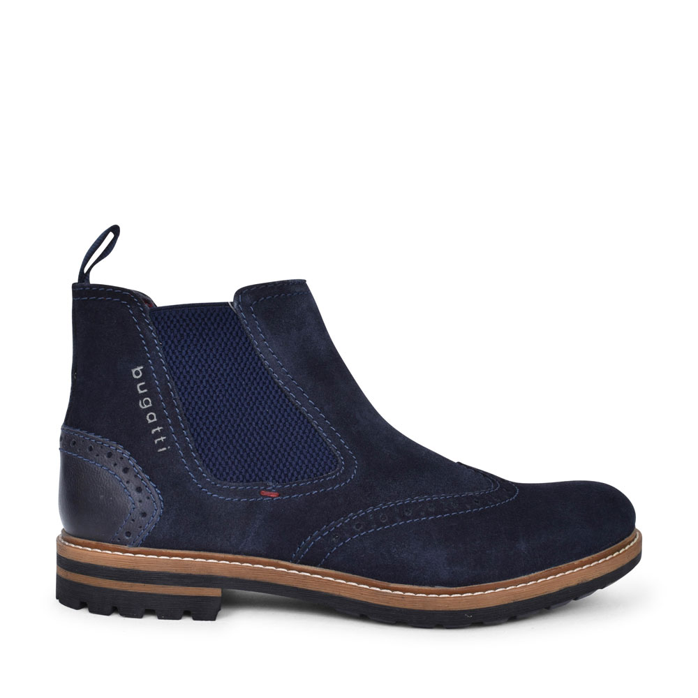 81561 BROGUE STYLE CHELSEA ANKLE BOOT FOR MEN in BLUE
