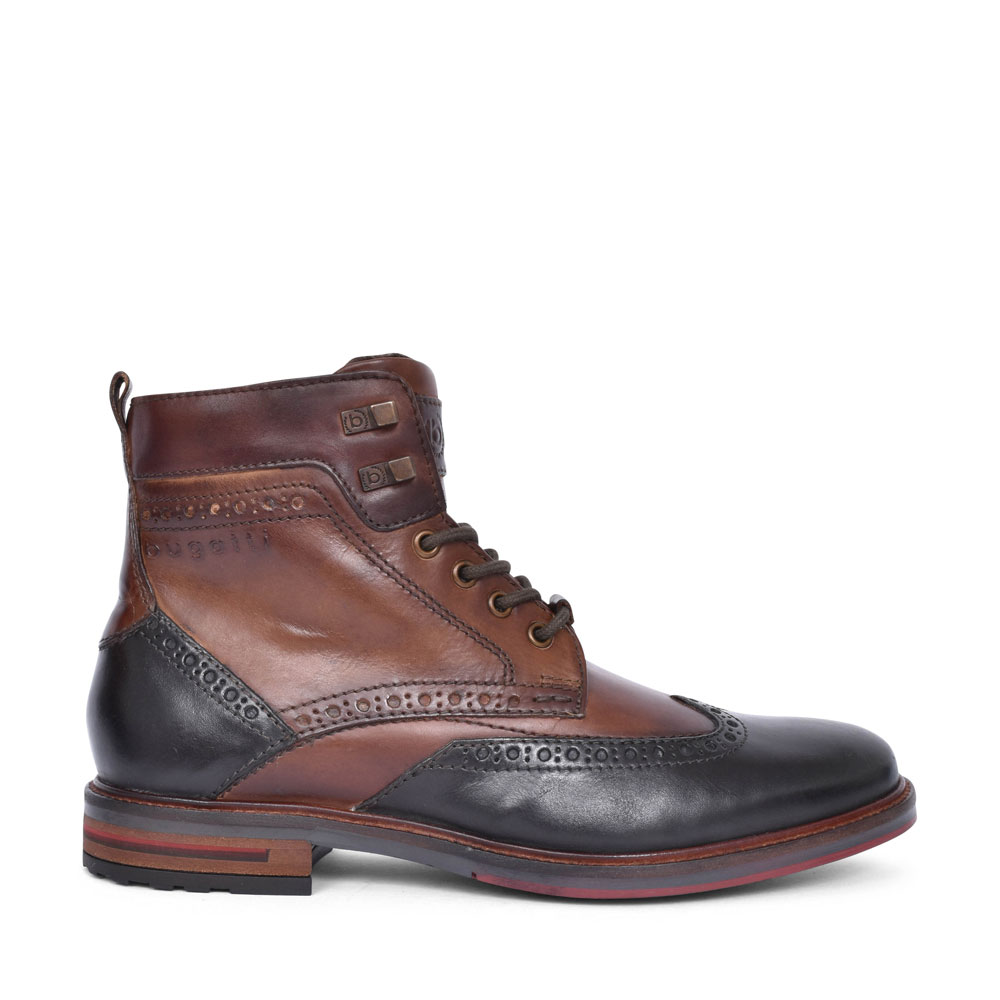 37752 LACED BROGUE STYLE ANKLE BOOT FOR MEN in BROWN